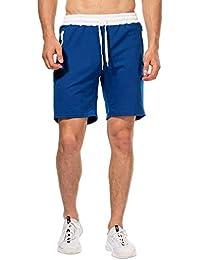 Short Homme Short pour Homme Sport Jogging et d'entraînement Fitness Pantalon Court Jogging Pantalon Bermuda Pochette de Rangement pour Fermeture Éclair