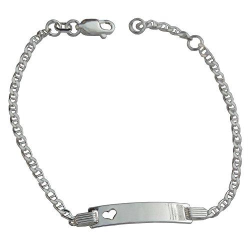 GravUp: 925 Sterling Silber Steganker Armband mit Herz 16 – 18 cm mit SOFORTGRAVUR + VORSCHAU: Gravur auf der Vorderseite ( Vorname) und Rückseite ( Datum) inklusive