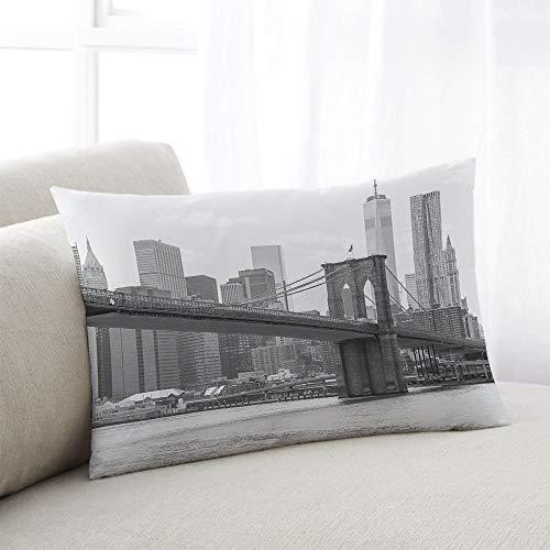 odin sky Kissenbezug New York Foto von The Brooklyn Bridge Grau Weiß Kissenbezüge Dekokissen Fall Kissenbezüge, 45X45 cm