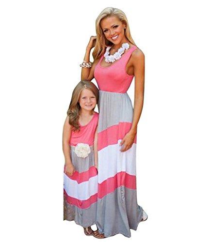 Tomsent 2017 Damen Mütter Tochter Familie Sommerkleid Rundhals Ärmellose Kleider Streifen Stitching Weste MaxiKleid Rot DE 42 (Mama) (Designer Kleid Kinder)