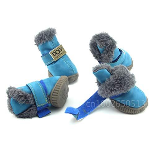 Haustier Hund Schuhe 4 Teile/Satz Wasserdichte Schneeschuhe Leder Komfortabel, Atmungsaktiv, Rutschfest, Umweltfreundlich, Wirtschaftlich Haustiere Outdoor Sneaker - Beruhigende Satz