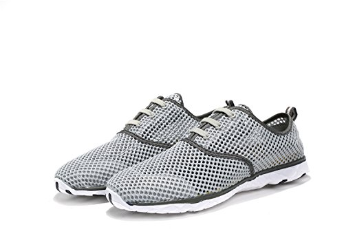 ALSYIQI Men Women Breathable Mesh Quick-drying Water Shoes Sport Sneaker Men Grey