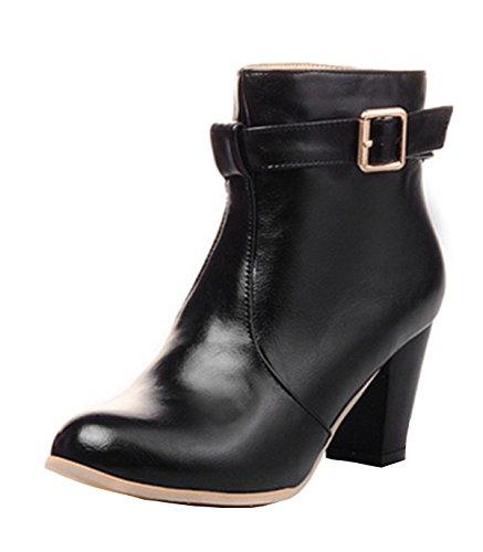 YE Damen Chunky Heel Short Ankle Boots 7CM Heels Blockabsatz Heels Bequeme Stiefeletten mit Reißverschluss und Schnalle Herbst-Winter-wasserdicht Elegant Schuhe Schwarz