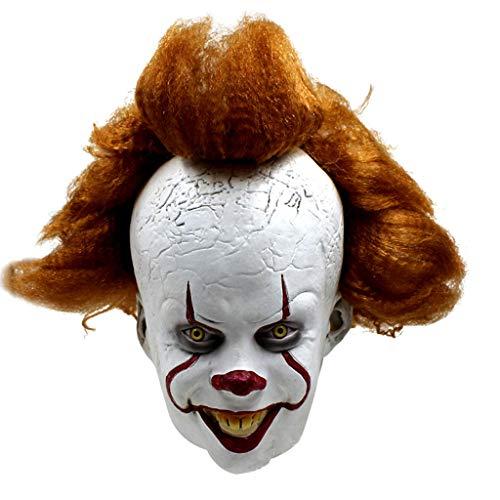 Nur Kostüm Pennywise - Clown Maske, Halloween Maske Kopfbedeckung Horror Maske Pennywise Kostümzubehör Scary Latex Realistische Prop Party Gesichtsmaske Für Erwachsene