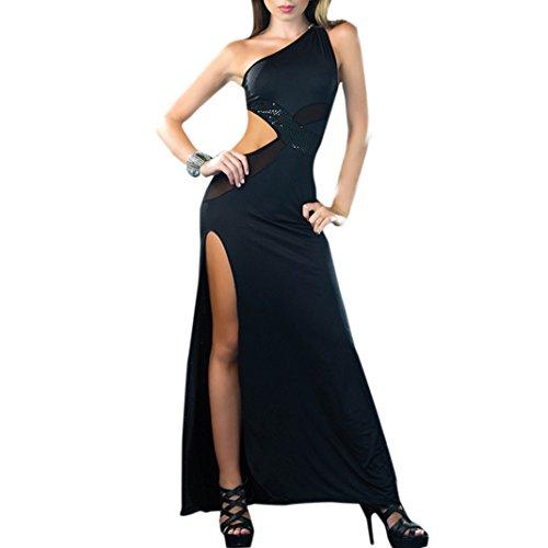 Sasairy Damen's Lange Party Kleider Elegant Maxi Cocktailparty Brautkleider EU Größe 34-40 Schwarz