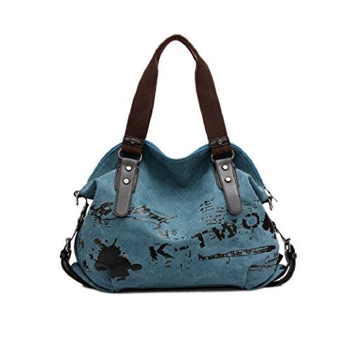 VADOO Damen Handtasche/Umhängetasche Canvas Shopper Tasche Vintage Hobo Bags Blau
