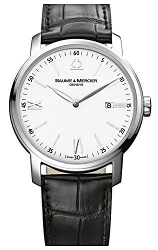 Baume et Mercier Classima blanco Dial negro cuero Mens Reloj moa10379