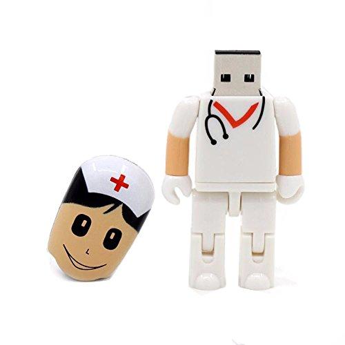 ranipobo 32GB Mini Flash Drive Creative Arzt Krankenschwester Spielzeug Flexible Form USB 2.0 Memory Stick weiß White Doctor 32 GB