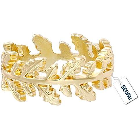 SENFAI NUOVA COLLEZIONE Authentic Laurel Wreath Laurel foglie anello placcato oro vero