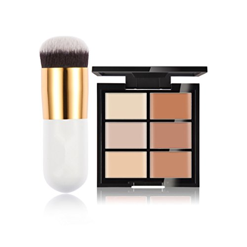 FantasyDay® 6 Farben Make-Up Creme Contour Concealer Abdeckcreme Camouflage Palette Highlighting Corrector Kontur Foundation Camouflage Palette Für Jeden Hautton + Make-up Pinsel, 1 Stück #2