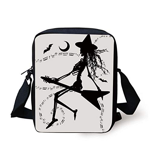 LULABE Music,Witch Flying on Electric Guitar Notes Bat Magical Halloween Artistic Illustration,Black White Print Kids Crossbody Messenger Bag Purse