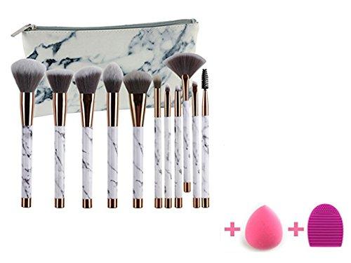 11 Pcs Maquillage de marbre Pinceau ensemble incluent Teint Poudre Fards Pinceau fard à paupières avec PU cuir marbre sac de transport, Blender éponge et brosse d'oeuf (11 + 2pcs)
