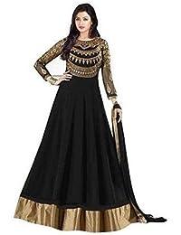 Prachi Desai Black Neck Embroidered Long Anarkali Suit With Designer Neck Embroiderd Dimond