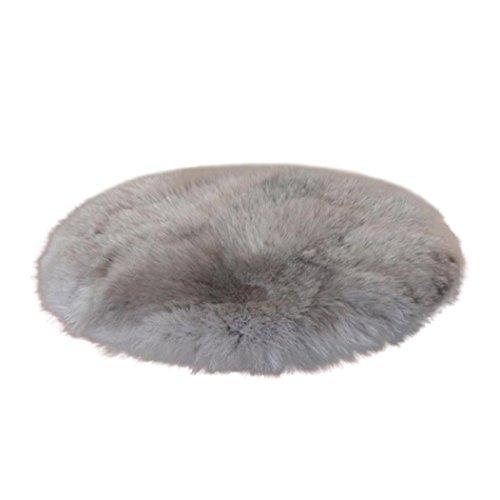Rovinci Weiche künstliche Schaffell-Wolldecke-Stuhl-Abdeckung künstliche Wollen wärmen haarigen Teppich-Sitz (Grau, 45x45cm) (Grau Und Rosa Runder Teppich)