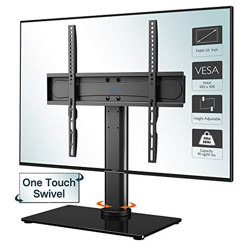 1home Tischständer Standfuss TV Ständer Fernsehtisch für 26-55 Zoll LCD/LED TVs Freie Bewegung Schwenkbar & Höhenverstellbar - 8mm gehärteter Glasfuß mit rutschfesten Füßen, Max.VESA 400x400