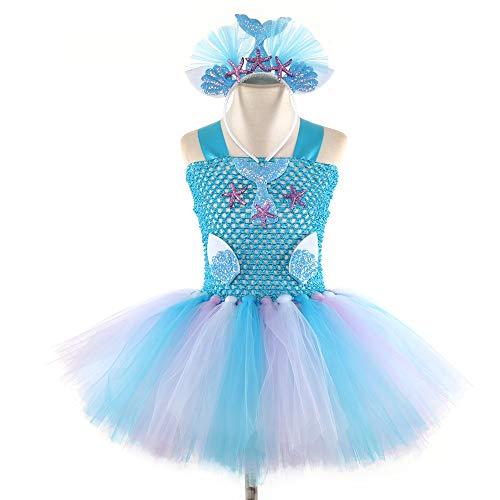 Mädchen Prinzessin Meerjungfrau Kostüm Tutu Kleid mit Baumwollfutter & Seestern-Stirnband für Kinder, violett (Aurora Kostüm Mit Tutu)