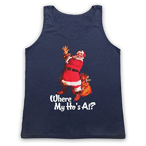 Where My Ho's At Santa Claus Father Christmas Funny Parody Slogan Tank-Top Weste Ultramarinblau