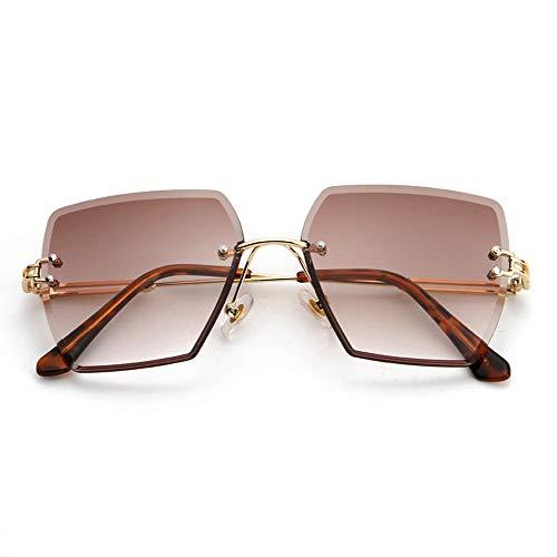 HUWAIYUNDONG Sonnenbrillen,Platz Randlose Sonnenbrille Frauen Kristall Verlaufsglas Klare Sonnenbrille Damen Vintage Oversized Eyewear Braun