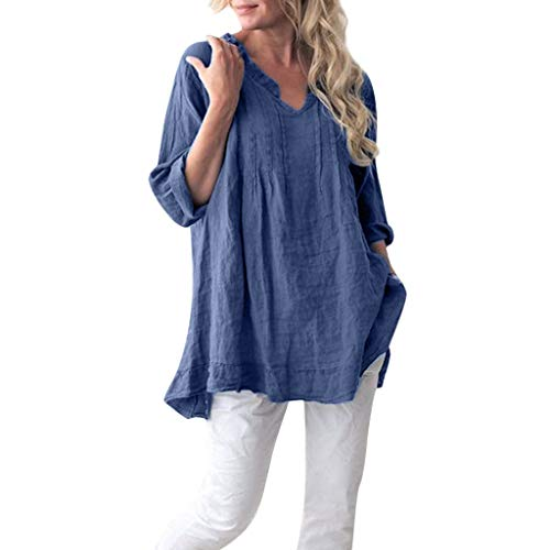 Damen Bluse Langarm Shirt Leinen Hemd Tops Oberteile Frauen Hemdbluse Elegant Lose T-Shirt Oversize Lässige V-Ausschnitt Langarmshirt Tunika