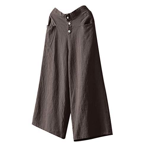 Luckycat Damen Leinenhose aus 100% Leinen leichte Sommerhose Tunnelbund mit Gummizug und 2 aufgesetzten Taschen vorne Damen Hosen Lang Weites Bein Sommerhose Gummibund Freizeithose mit Taschen