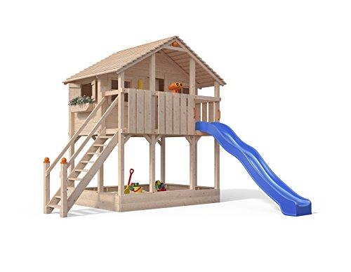 Isidor Atario Spielturm Kletterturm Baumhaus Rutsche Schaukeln Treppe (ohne Anbau, Blau)