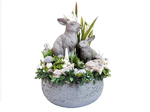 Osterdeko Landhaus FRÜHLINGSKUSS Shabby Frühlingsdeko grau weiß silber grün ländliche Deko Ostern dauerhaft Tischdeko Osterhasen Eule