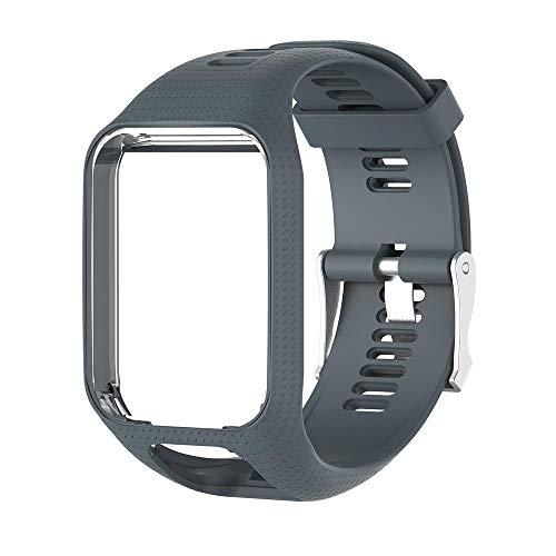 Womdee Tomtom Uhrenarmband, Ersatzarmband für Tomtom Spark-Runner, weiches Silikon Tomtom Gel Watch Band Sport Armband für Tomtom Runner 2/Runner 3/Spark 3/Adventurer/Golfer 2 Smartwatch, grau
