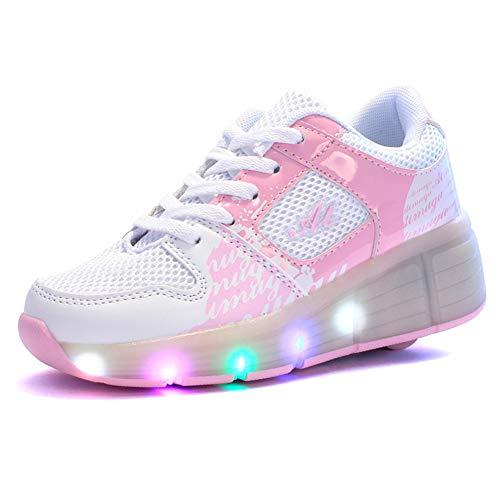 MNVOA Unisex Kinder Mode LED Schuhe mit Rollen Drucktaste Einstellbare Skateboardschuhe Outdoor Gymnastik Turnschuhe Für Junge Mädchen,Pink,37EU