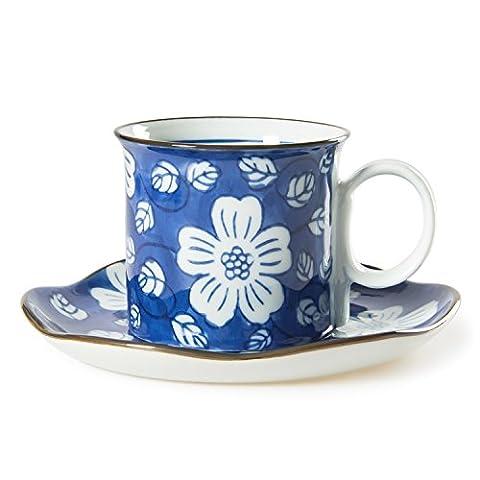 Chinzee Coffee Mug Set Birthday Gift Blue and White Porcelain