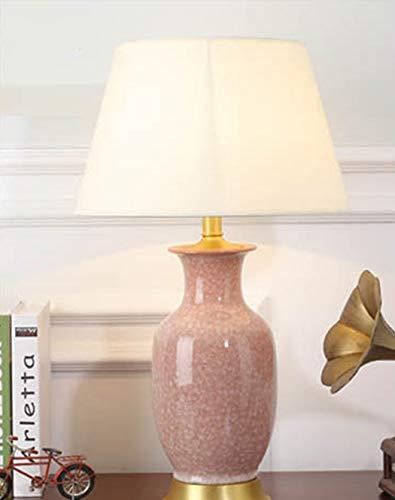 Button Kopfteil (ZIXUAA Einfaches Design Kupfer Tischlampe, Schlafzimmer Kopfteil voll Kupfer Keramik Tischlampe, warmes Zuhause Wohnzimmer Studie Kupfer Keramik Tischlampe, europäische kreative Heimat Lampe-B-Button)