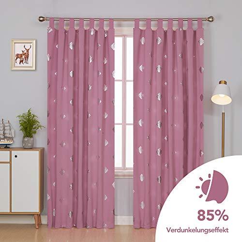 Deconovo Quadrat Muschel Verdunkelungsvorhang Schlaufen Wohnzimmer mädchen 245x140 cm Pink 2er Set