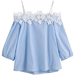 Damen Sommer T-Shirt FORH Frauen Sexy Off Shoulder Halter T-Shirt Cute Einfarbig Kurzarm Spitze Bluse Casual Strand Tank Tops Weste Crop Tunika Top (Blau, S)