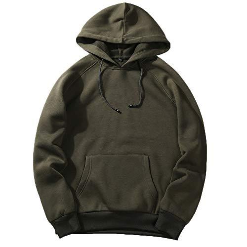 UJUNAOR Herren Langarm Hoodie T-Shirt Kapuzenshirt Mit Kapuze Männer Pullover in Vielen Farben(Armygrün,M)