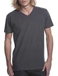 siguiente nivel cuello de Rib para hombre tri mezcla satinado Label–Camiseta para hombre