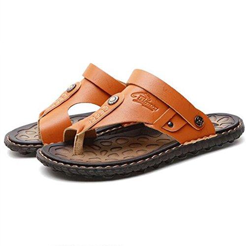 Newbestyle Homme Chaussure été Sandales Cuir Souple Sandales de Plage Tongs Jaune