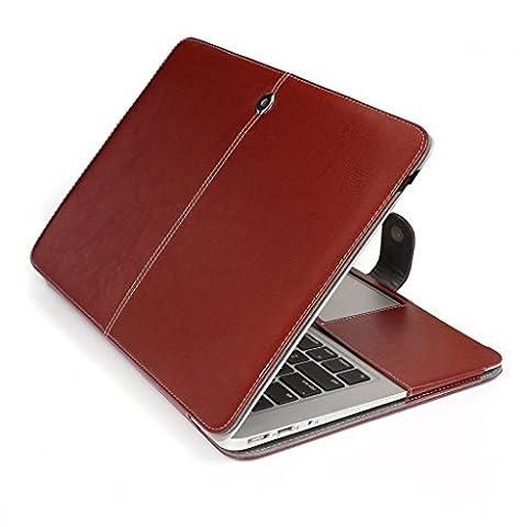Topideal Étui en cuir PU Housse Étui folio Housse souple pour ordinateur portable sac pochette de transport pour Apple MacBook Air 11