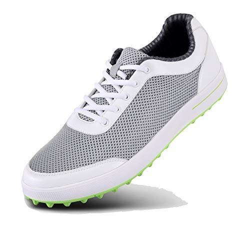 LXYIUN Men Golfschuhe,Leicht Atmungsaktives Air Mesh Golfschuhe Herren Anti-Rutsch Outdoor Sneakers Herren Sport Golfschuhe,White,45