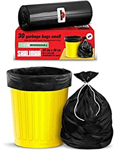 Shalimar Premium OXO - Biodegradable Garbage Bags (Small) Size 43 cm x 50 cm (30 Bags) (Black Colour)