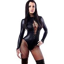 Vovotrade Super sexy in pelle nera per adulti PVC Come Body Tuta stretti