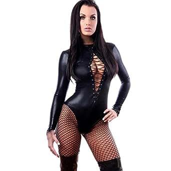 Vovotrade Super sexy in pelle nera per adulti PVC Come Body Tuta stretti (S)