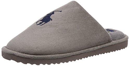 Polo Ralph Lauren Men's Manor Slide, Herren Pantoffeln, Grau (Grey microsuede w navy), 46 (Ralph Lauren Polo Hausschuhe)