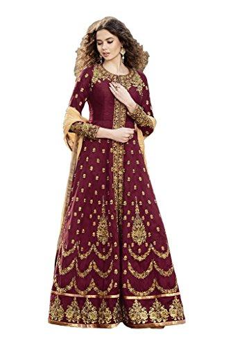 Caffoy Cloth Company Women's Maroon Color Bangalori Silk Heavy Embroidered Bollywood Designer Anarkali Salwar Suit For Wedding.