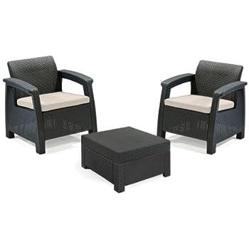 Keter 17194274 Corfu 2 Seater Balcony Garden Outdoor Rattan Furniture Set - Graphite with Cream Cushions