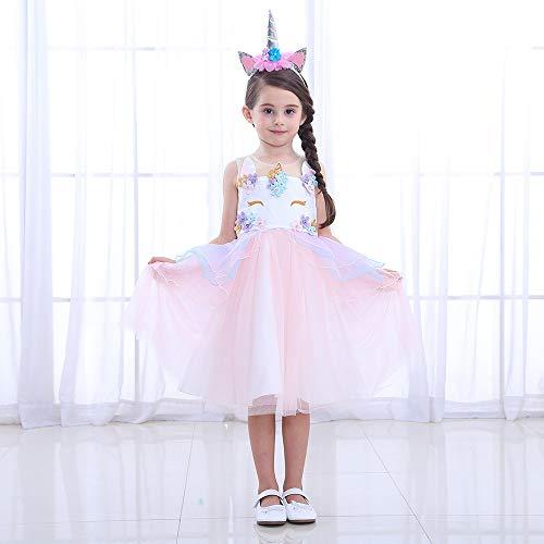 Vokaer Baby Girl Unicorn Kostüm Pageant Flower Princess Party Kleid mit Stirnband, Halloween Dress Up Cosplay Geburtstagsparty Kleid,Pink