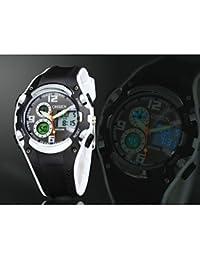 Relojes Hermosos, Negro banda de silicona esfera de un reloj redondo reloj de pulsera de reloj del deporte del salto movimiento de la moda de Japón de los hombres ( Color : Blanco , Talla : Una Talla )