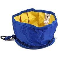 UEETEK Tazón de mascota viaje plegable perro cuenco de agua cuenco de alimentador para mascotas (Azul)