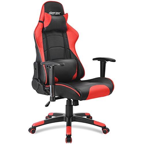 Merax Gaming Stuhl Racing Stuhl Schreibtischstuhl mit Kunstlederbezug/verstellbare Armlehnen& Rückenlehne/Vier Farbauswahl (Schwarz - Rot)