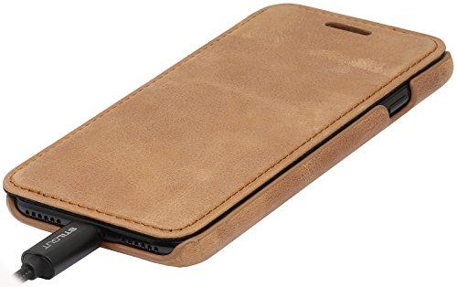 StilGut Book Type Case, Hülle Leder-Tasche für iPhone 8 & iPhone 7. Seitlich klappbares Flip-Case aus Echtleder für das Original iPhone 8 & iPhone 7 (4,7 Zoll), Rot Nappa Cognac Vintage