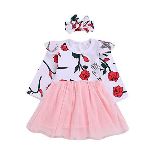 Chennie Mädchen Kid Casual Dress Rose Rüschen Langarm fallen Tüll Rosa Kleider + Stirnband (Color : Pink, Size : 2Y-3Y)