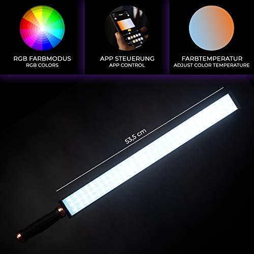 Rollei Lumen LED-Stableuchte I RGB Bi-Color Videoleuchte I App-Steuerung I LED Video-Licht geeignet für Portrait, Produkt & Videografie